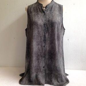 Eileen Fisher Silk Weave Print Tunic Top